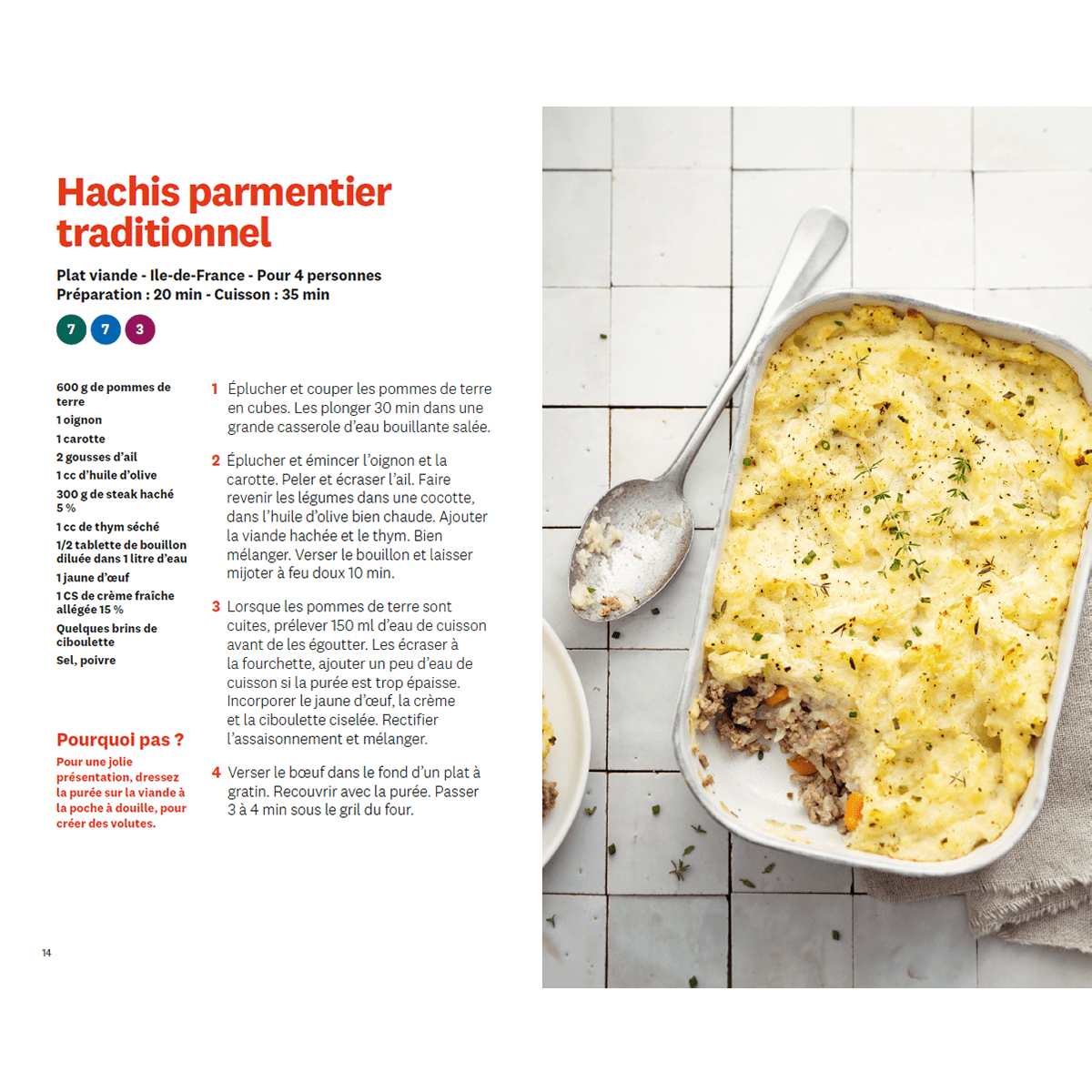 Recettes de nos regions hachis parmentier traditionnel