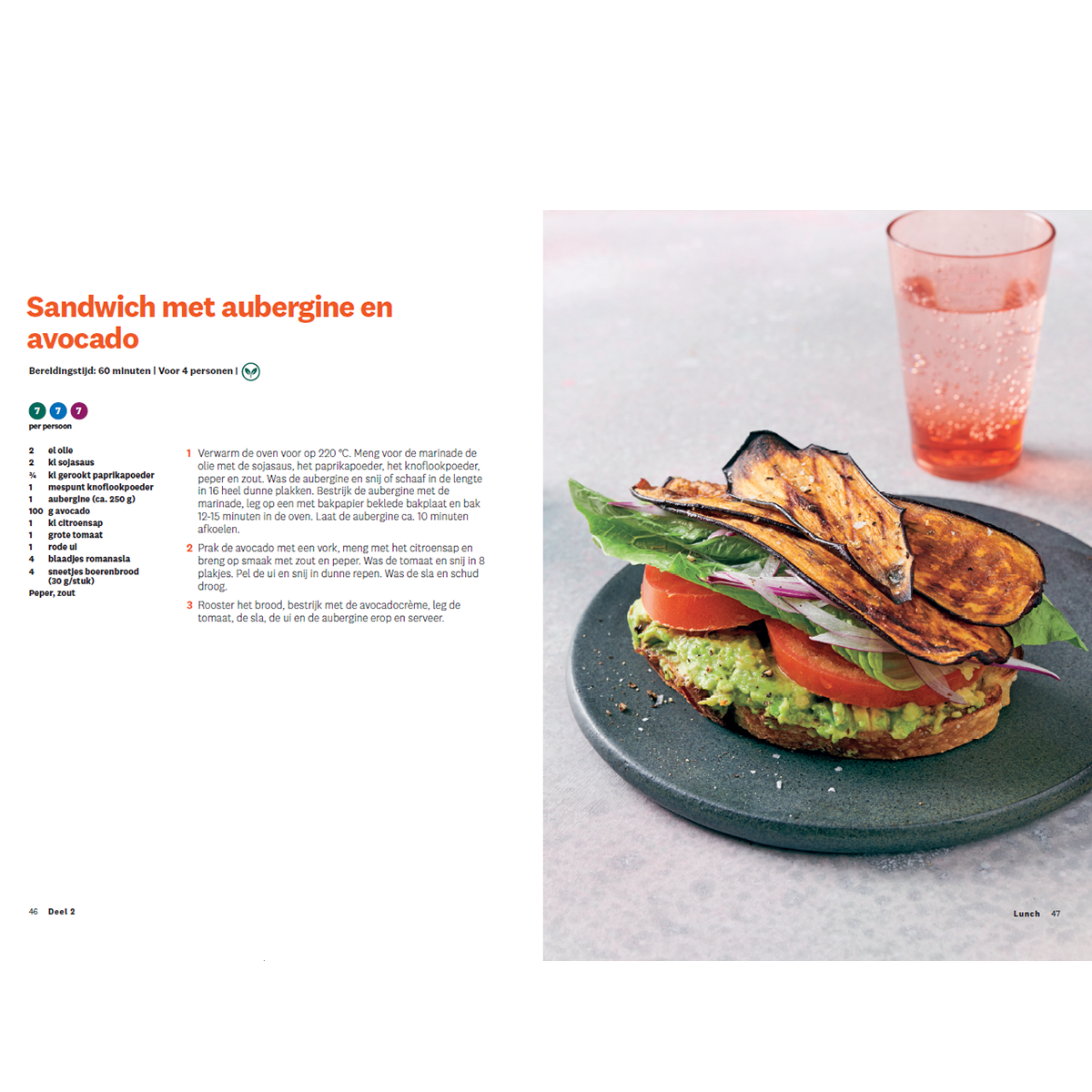 Programmakookboek deel 2 sandwich met aubergine en avocado